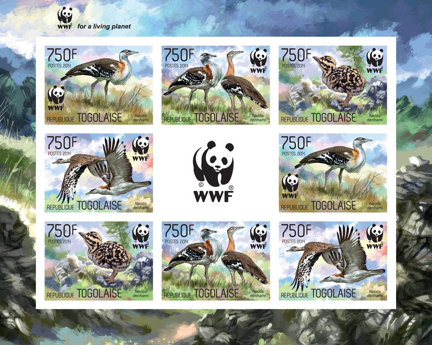 WWF – Birds (imperf. 2 sets) - Issue of Togo postage stamps