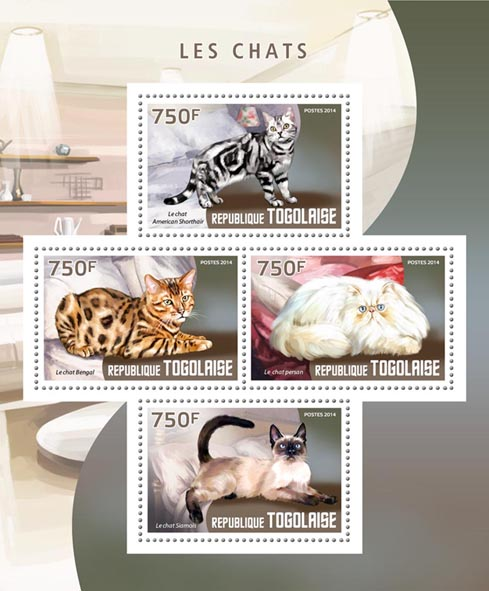 Cats - Issue of Togo postage stamps