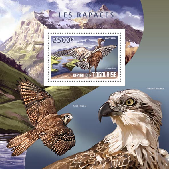 Birds of Prey - Issue of Togo postage stamps