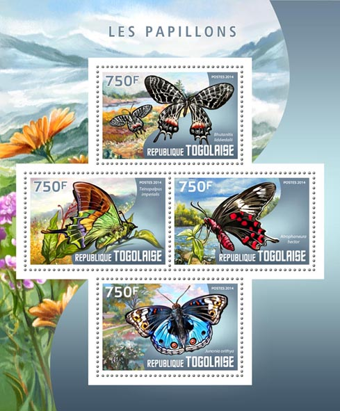 Butterflies - Issue of Togo postage stamps