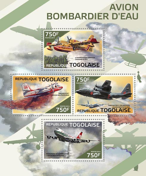 Firefighting planes  - Issue of Togo postage stamps