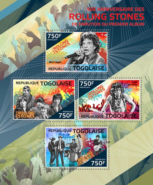 Rolling Stones - Issue of Togo postage stamps