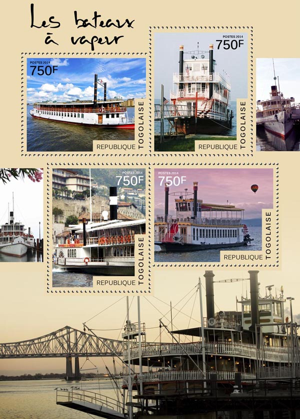 Steamboats   - Issue of Togo postage stamps