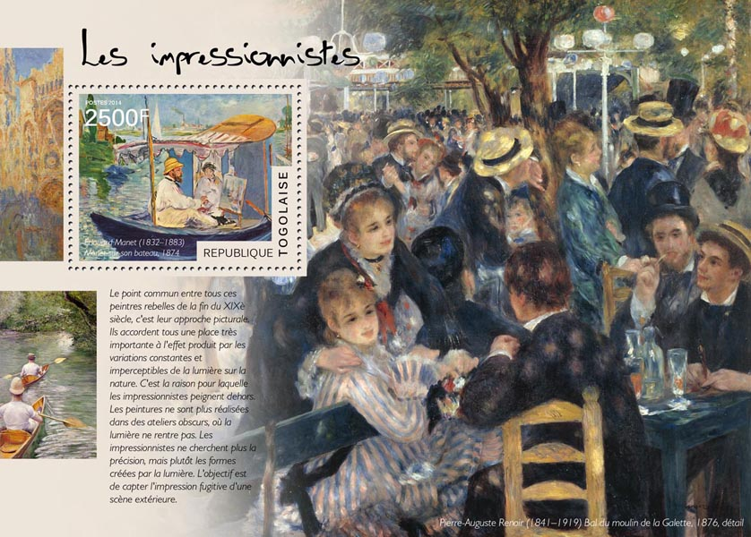 The Impressionists - Issue of Togo postage stamps
