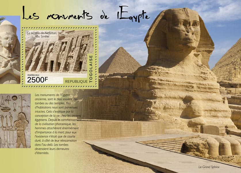 Egyptian monuments - Issue of Togo postage stamps