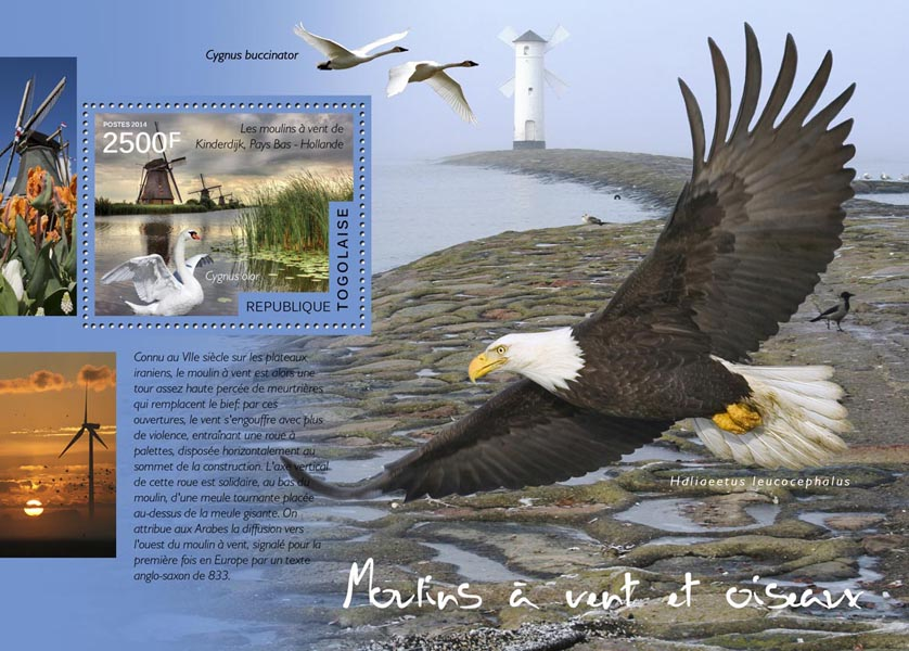 Windmills and birds - Issue of Togo postage stamps