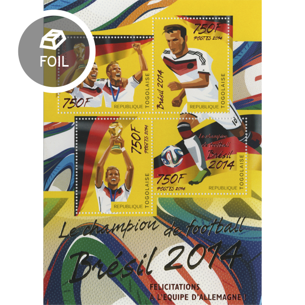 Football winners 2014 Brazil - Issue of Togo postage stamps