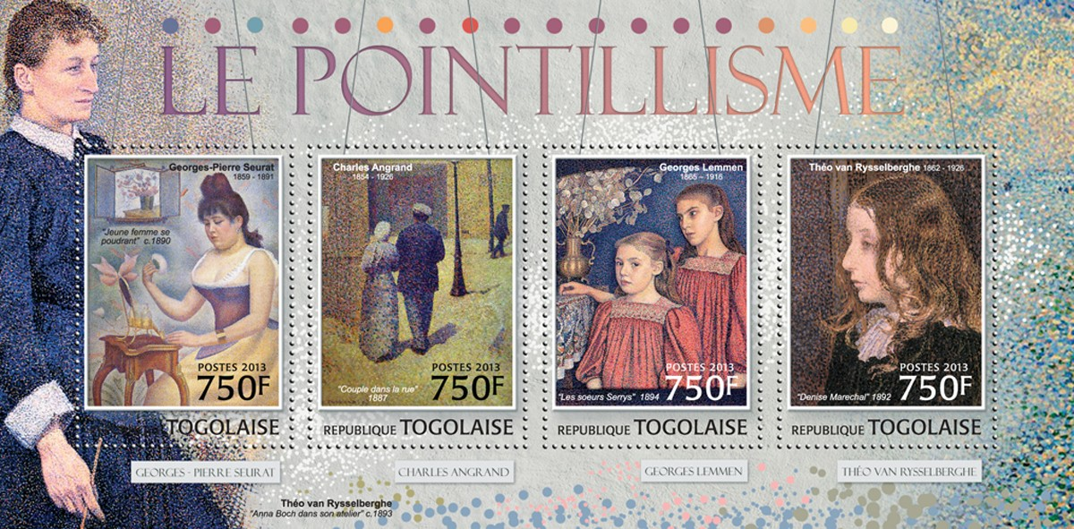 Pointillism - Issue of Togo postage stamps