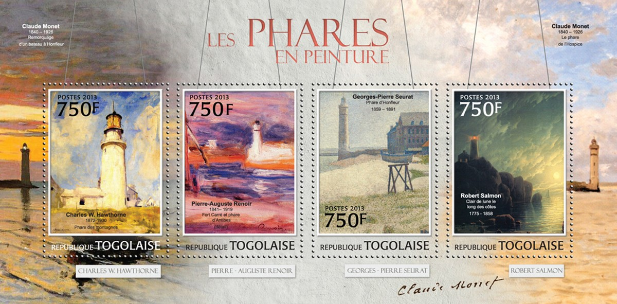 Lighthouses in Painting - Issue of Togo postage stamps