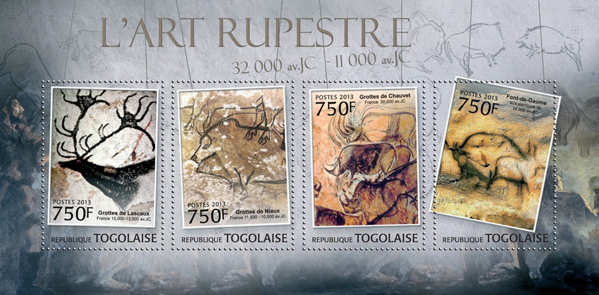 Cave Art - Issue of Togo postage stamps
