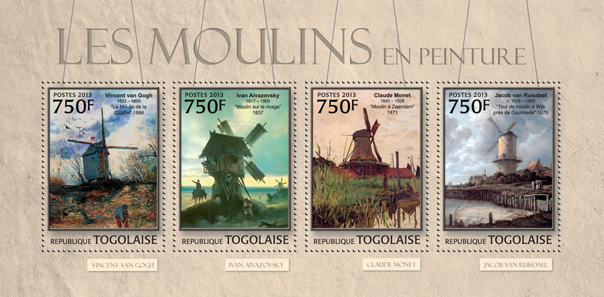 Mills in Painting - Issue of Togo postage stamps
