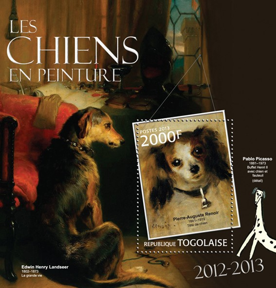 Dogs in Painting - Issue of Togo postage stamps