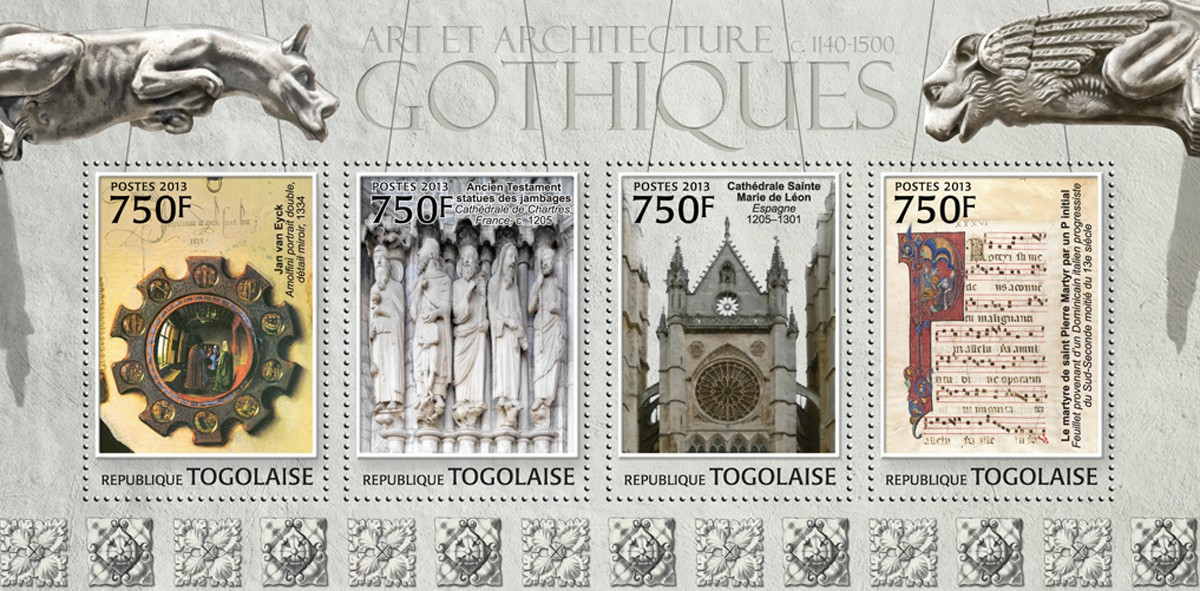 Gothic Art and Architecture - Issue of Togo postage stamps