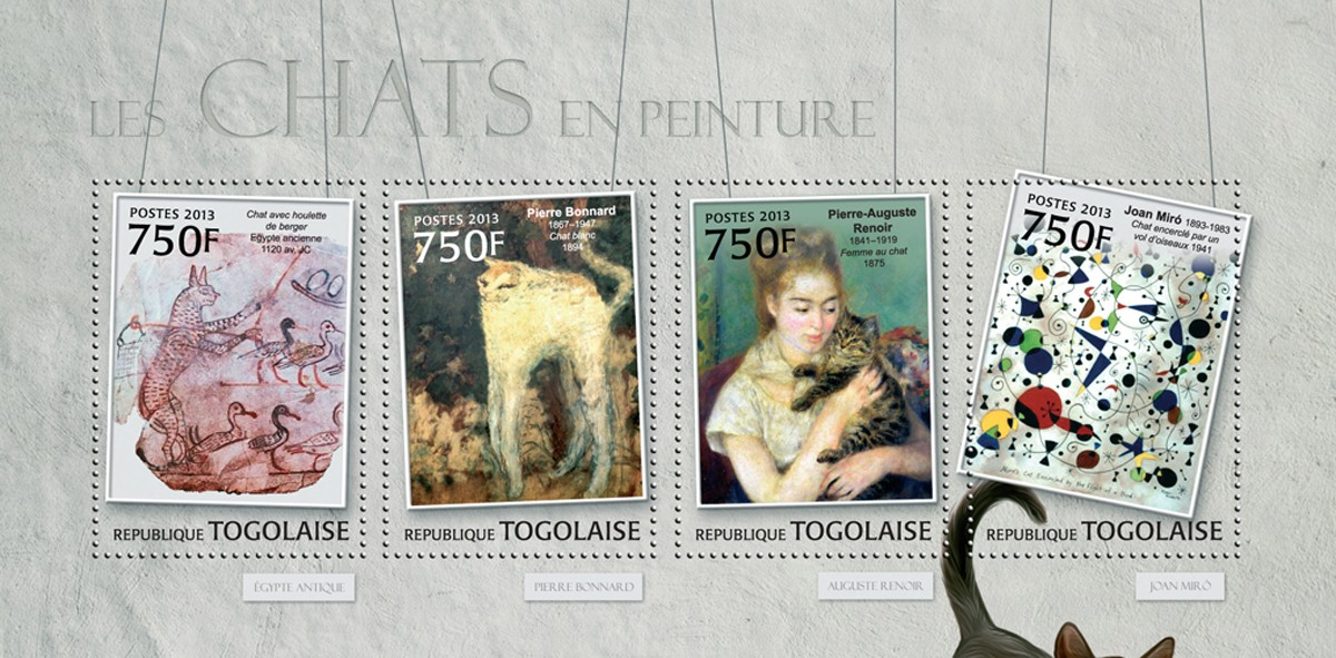 Cats in Painting - Issue of Togo postage stamps