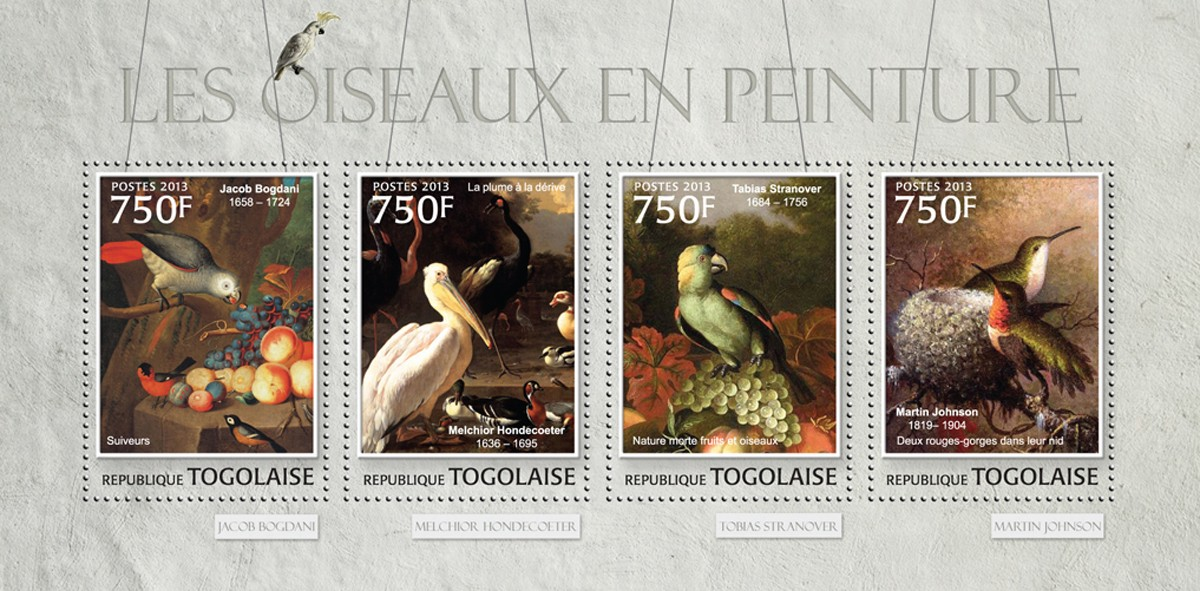 Birds in Painting - Issue of Togo postage stamps