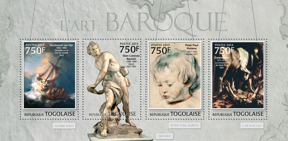 Baroque Art - Issue of Togo postage stamps