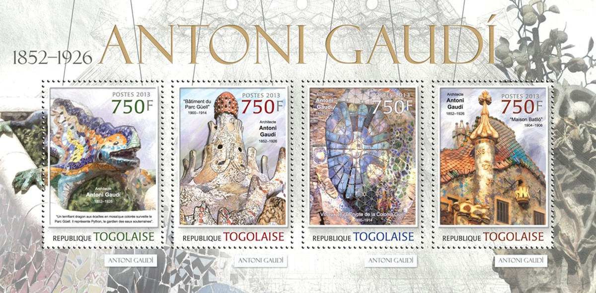 Antoni Gaudi - Issue of Togo postage stamps