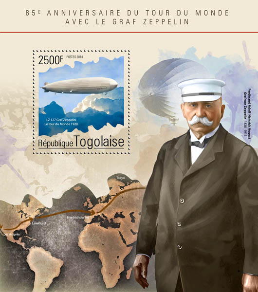 Graf Zeppelin - Issue of Togo postage stamps