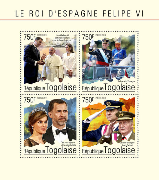 Felipe VI  - Issue of Togo postage stamps