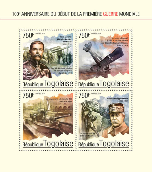 the First World War - Issue of Togo postage stamps