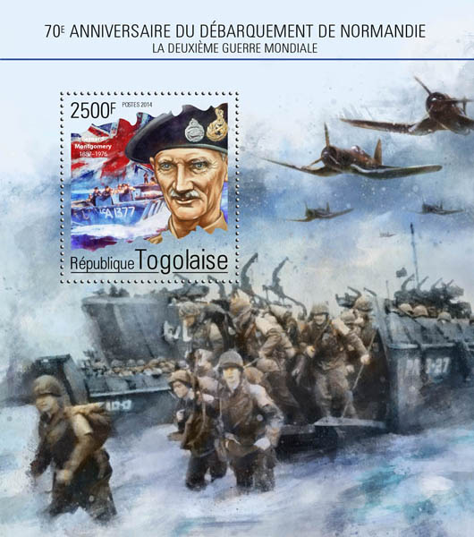 Second World War - Issue of Togo postage stamps