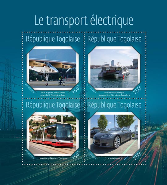 Electric transport - Issue of Togo postage stamps