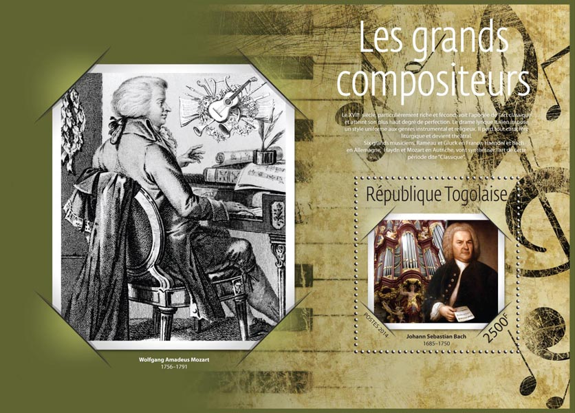 The great composers - Issue of Togo postage stamps