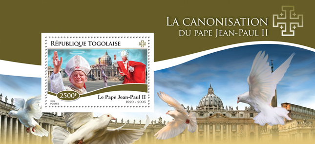 The Canonization of Popes - Issue of Togo postage stamps