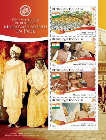 Gandhi - Issue of Togo postage stamps