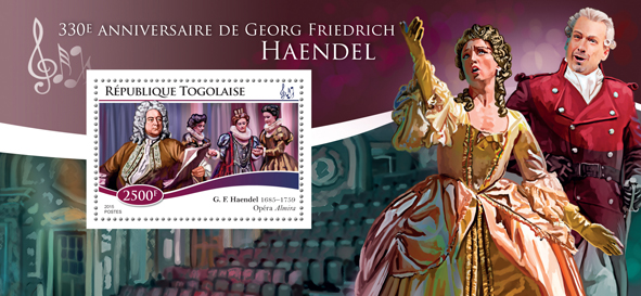 Georg Friedrich Händel  - Issue of Togo postage stamps