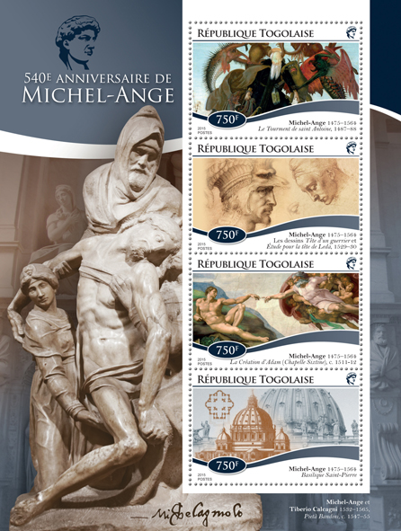 Michelangelo - Issue of Togo postage stamps