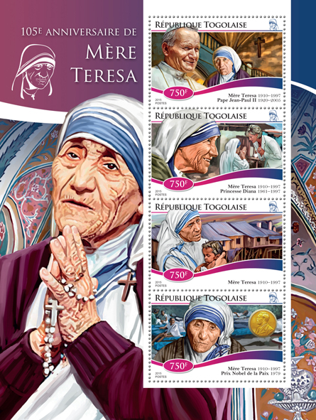 mother Teresa - Issue of Togo postage stamps