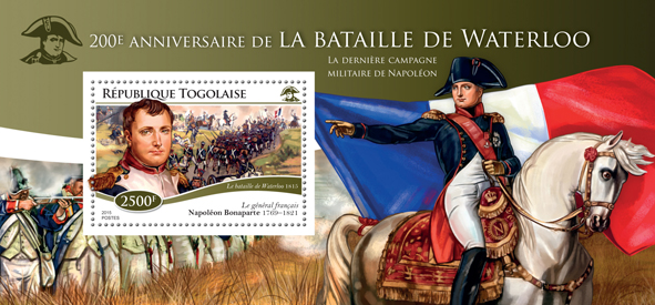 battle of Waterloo - Issue of Togo postage stamps