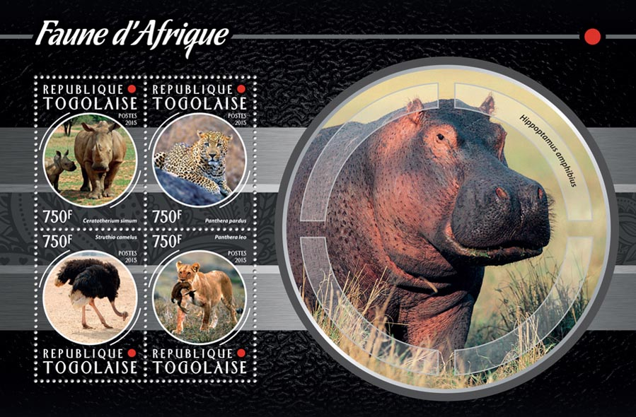African fauna - Issue of Togo postage stamps