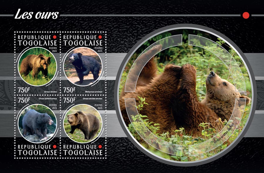 Bears - Issue of Togo postage stamps