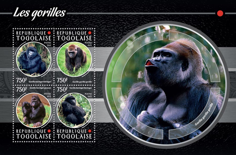 Gorillas - Issue of Togo postage stamps
