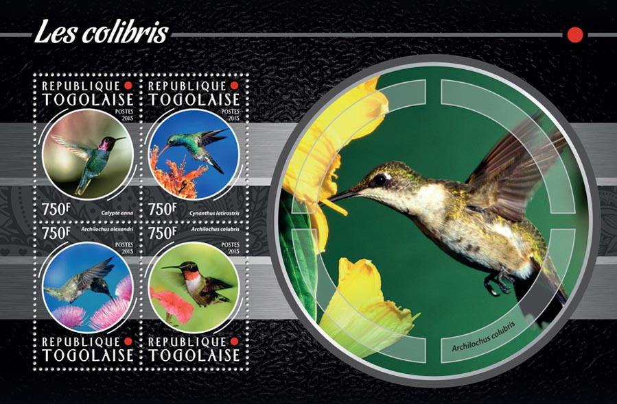 Hummingbirds - Issue of Togo postage stamps
