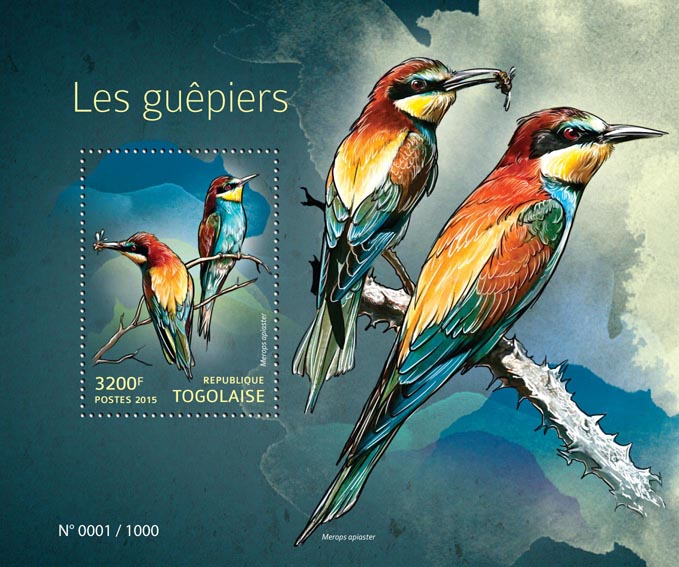 Bee-eaters - Issue of Togo postage stamps