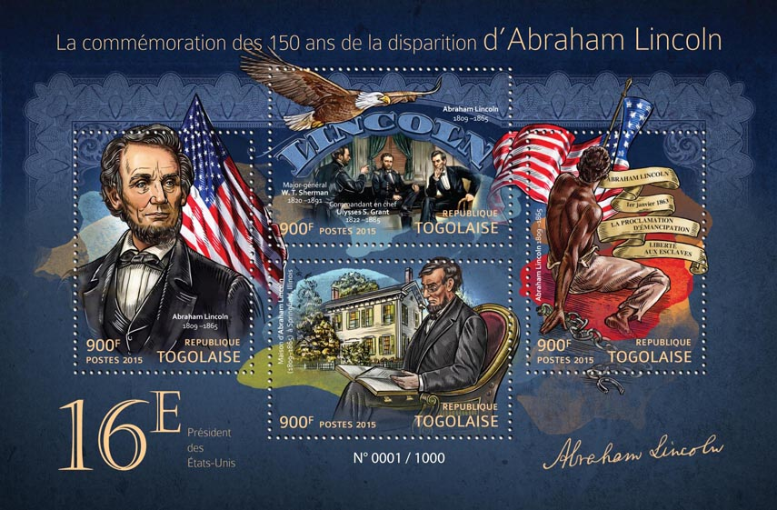 Abraham Lincoln - Issue of Togo postage stamps
