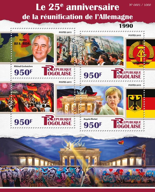 Reunification - Issue of Togo postage stamps