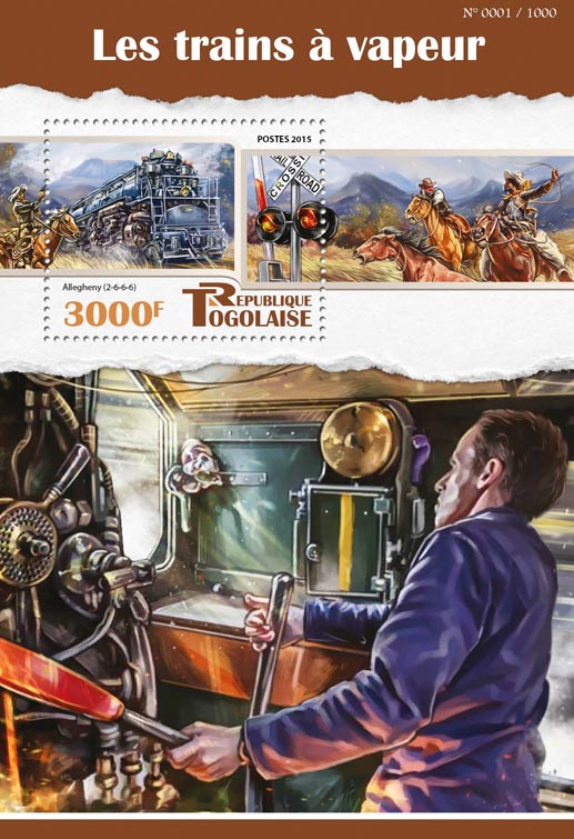 Steam trains - Issue of Togo postage stamps