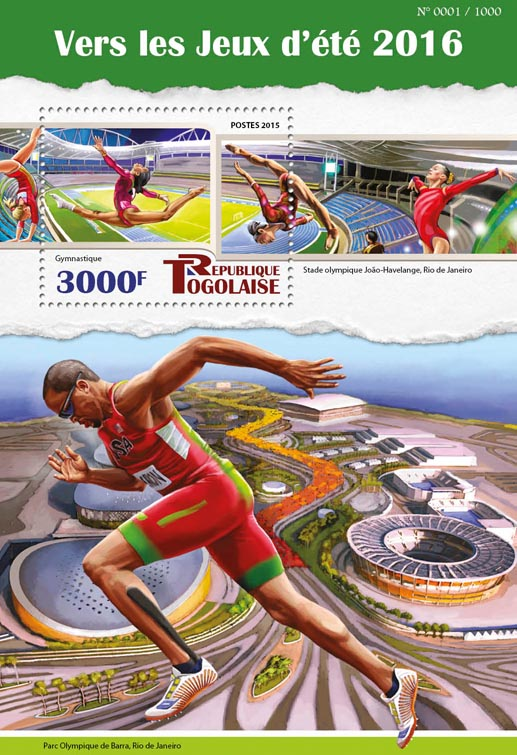Summer games 2016 - Issue of Togo postage stamps