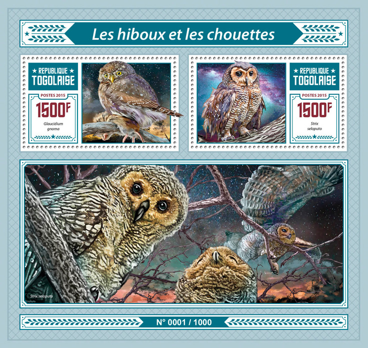 Owls - Issue of Togo postage stamps