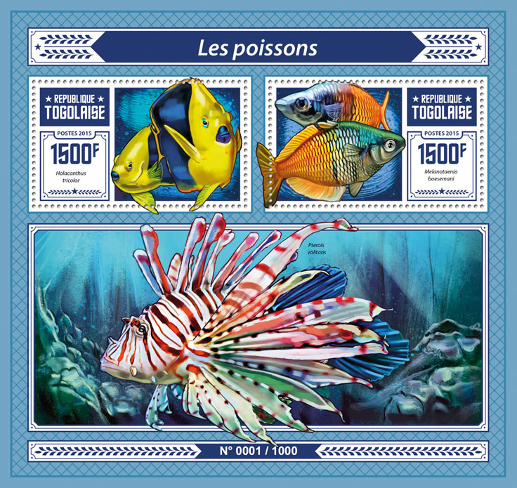Fishes - Issue of Togo postage stamps
