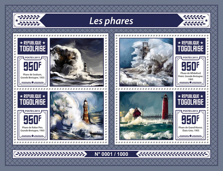 Lighthouses - Issue of Togo postage stamps