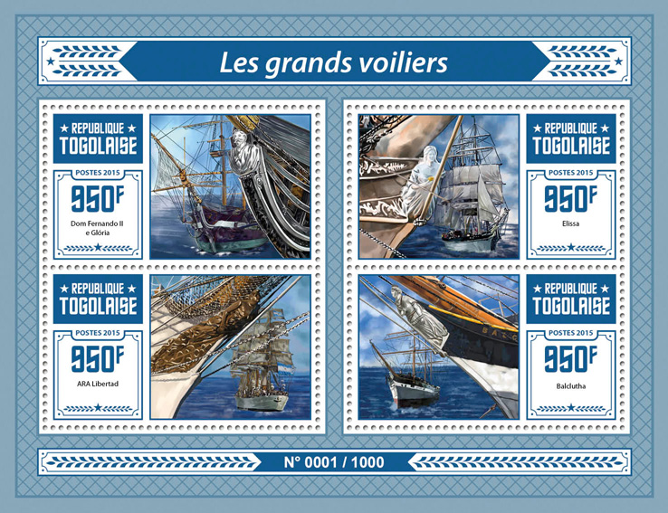Sailing ships - Issue of Togo postage stamps
