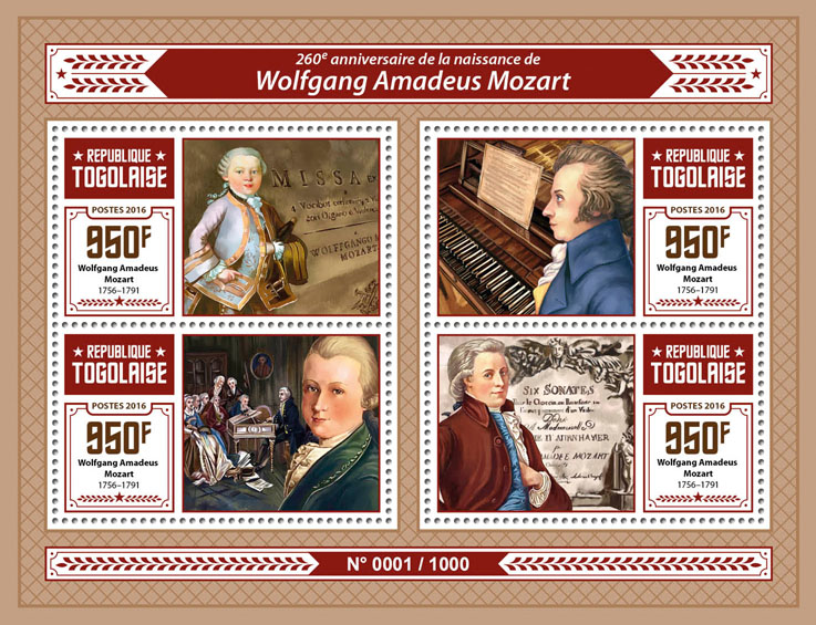 W. A. Mozart - Issue of Togo postage stamps