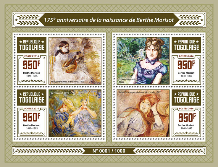 Berthe Morisot - Issue of Togo postage stamps