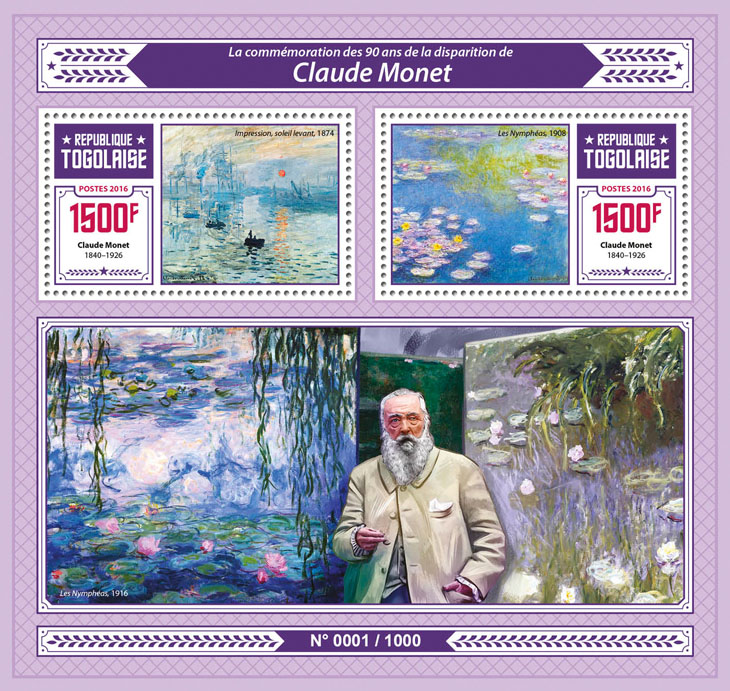 Claude Monet - Issue of Togo postage stamps