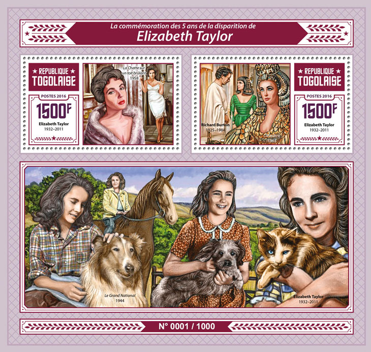 Elizabeth Taylor - Issue of Togo postage stamps